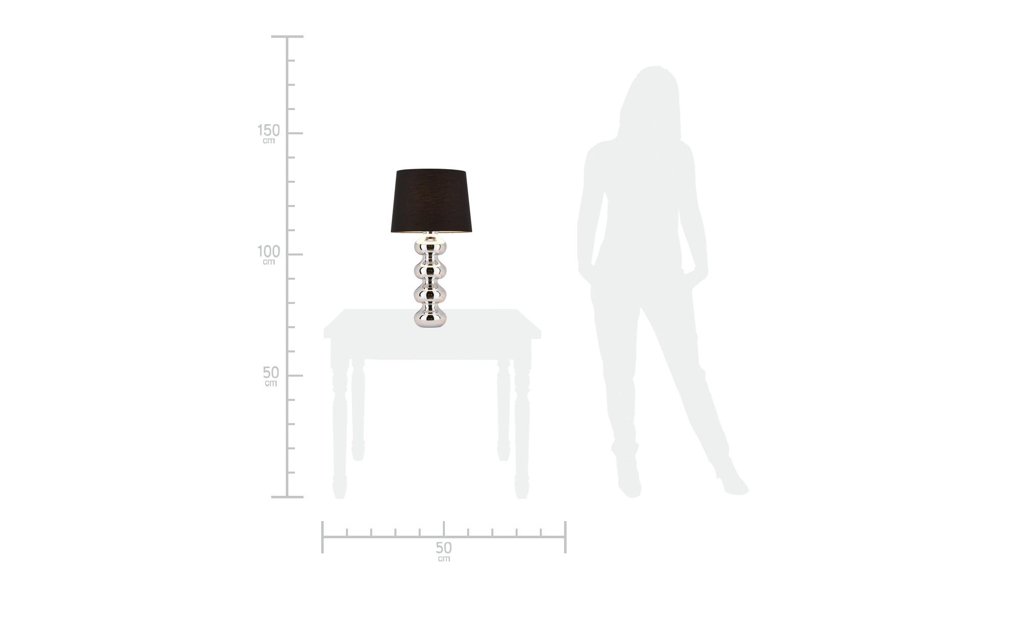 KHG Tischleuchte chrom mit schwarzem Stoffschirm ¦ silber ¦ Maße (cm): H: 65 Ø: 32 Lampen & Leuchten > Innenleuchten > Tischlampen - Höffner