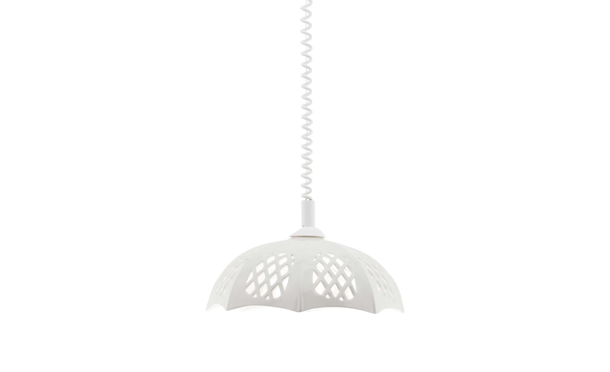 Pendelleuchte mit verziertem Keramikschirm ¦ weiß ¦ Maße (cm): H: 100 Ø: 40 Lampen & Leuchten > Innenleuchten > Pendelleuchten - Höffner