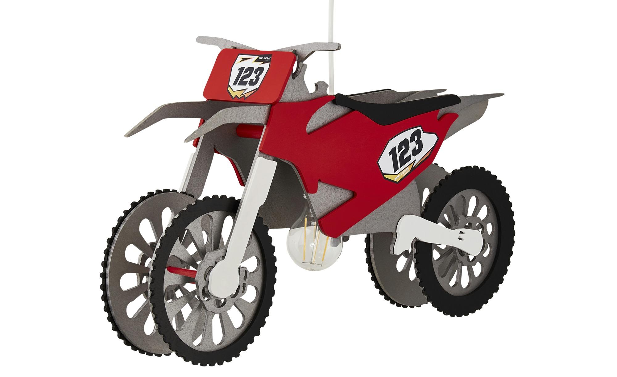 Pendelleuchte, 1-flammig, Motocrossmaschine ¦ rot ¦ Maße (cm): B: 30 T: 20 Lampen & Leuchten > Innenleuchten > Kinderlampen - Höffner
