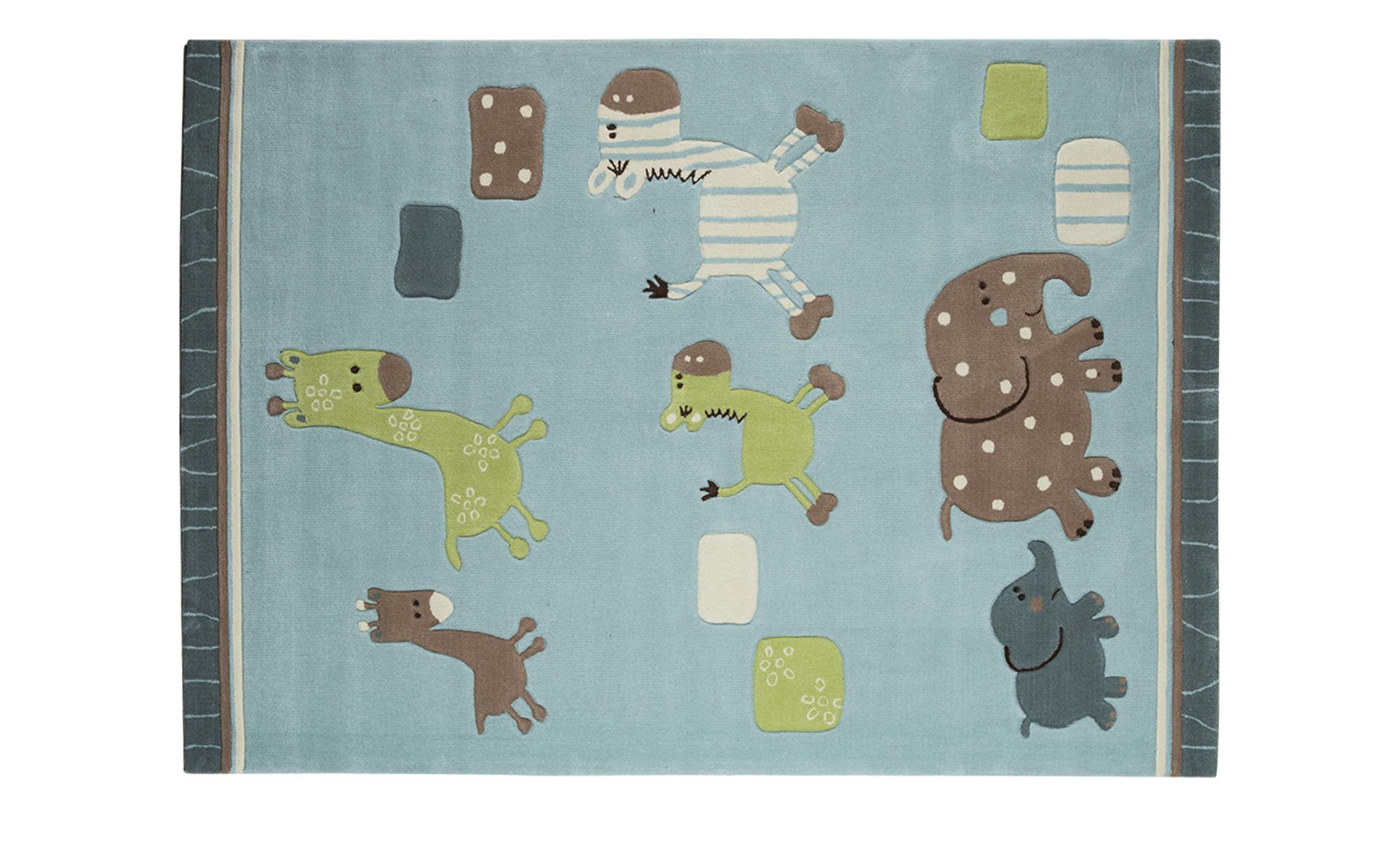 Esprit Handtuft-Teppich  Lucky Zoo ¦ blau ¦ 100 % Acryl, Synthethische Fasern ¦ Maße (cm): B: 90 Teppiche > Kinderteppiche - Höffner | Kinderzimmer > Textilien für Kinder > Kinderteppiche | Möbel Höffner DE