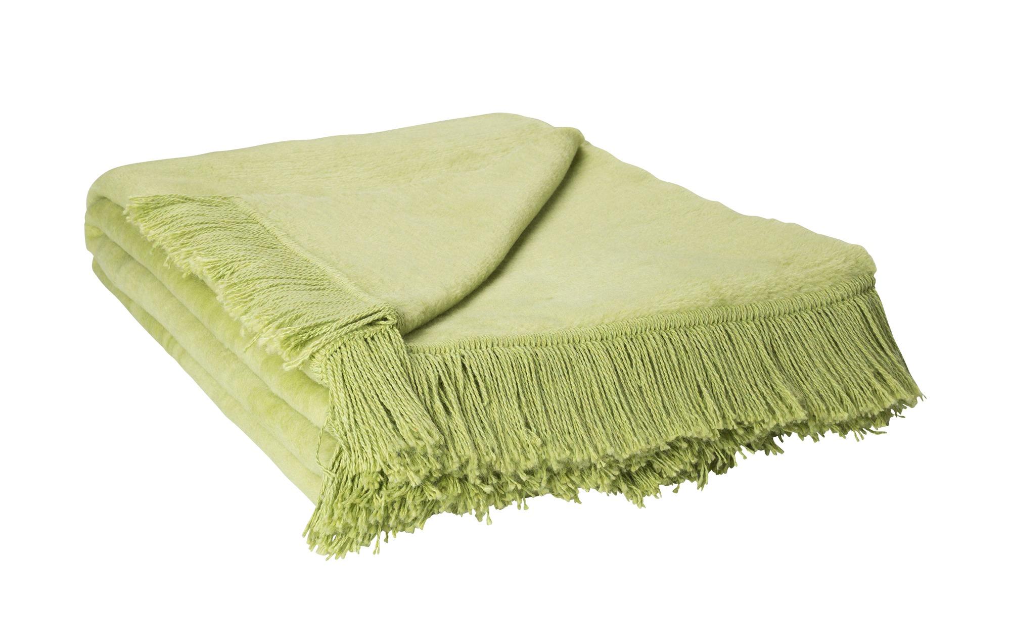 HOME STORY Kuscheldecke  Sophia ¦ grün ¦ 60% Baumwolle, 40% Polyacryl ¦ Maße (cm): B: 150 Heimtextilien > Kuscheldecken - Höffner