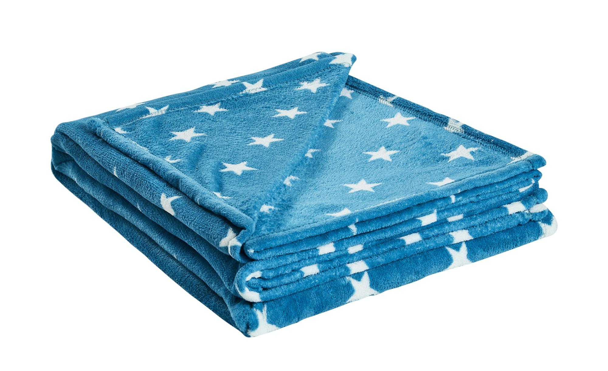 HOME STORY Coralfleecedecke  Sterne ¦ blau ¦ 100% Polyester ¦ Maße (cm): B: 150 Heimtextilien > Kuscheldecken - Höffner