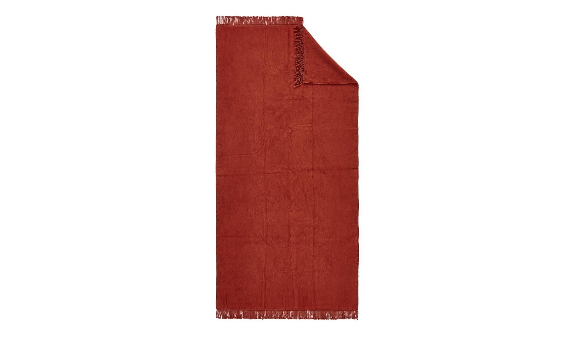 LAVIDA Sofaläufer  Uni ¦ rot ¦ 60% Baumwolle, 40% Polyacryl  ¦ Maße (cm): B: 100 Bettwaren > Tagesdecken & Bettüberwürfe - Höffner