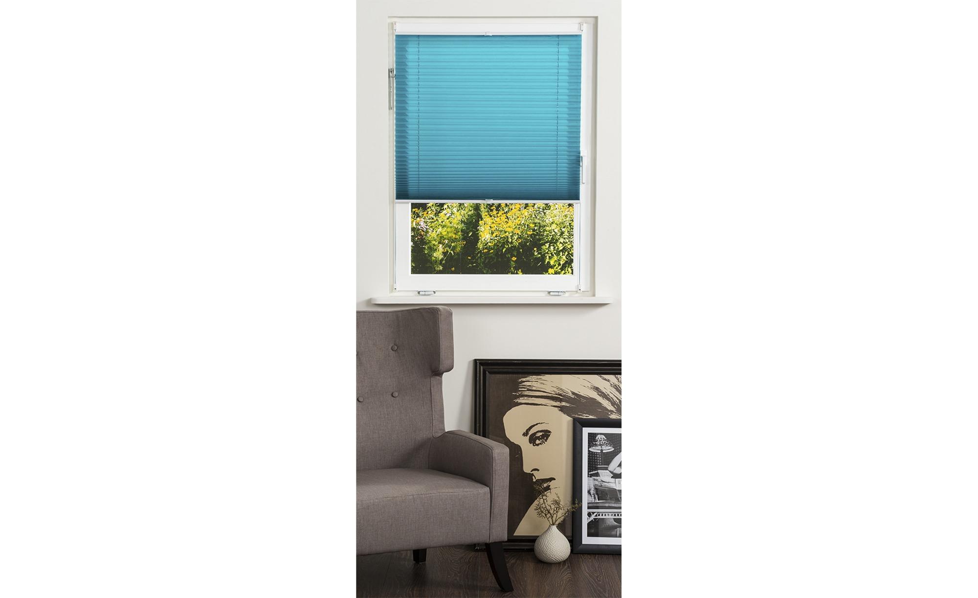 KHG Plissee Klemmfix ¦ blau ¦ Polyester ¦ Maße (cm): B: 120 Gardinen & Vorhänge > Rollos & Sonnenschutz > Plissees - Höffner