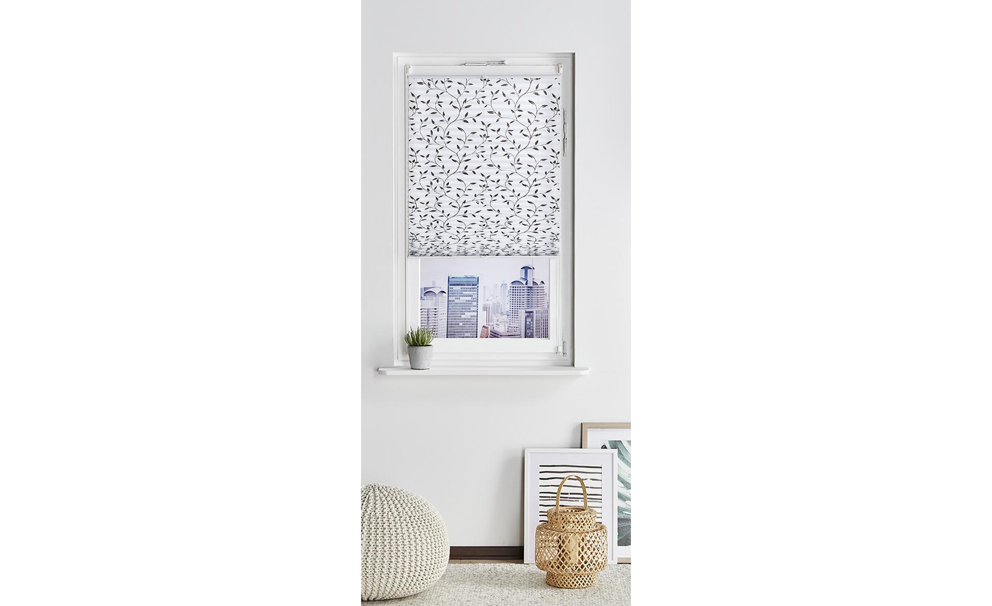 HOME STORY Klemmfix-Plissee  Blume ¦ grau ¦ 100% Polyester ¦ Maße (cm): B: 90 Gardinen & Vorhänge > Rollos & Sonnenschutz > Plissees - Höffner