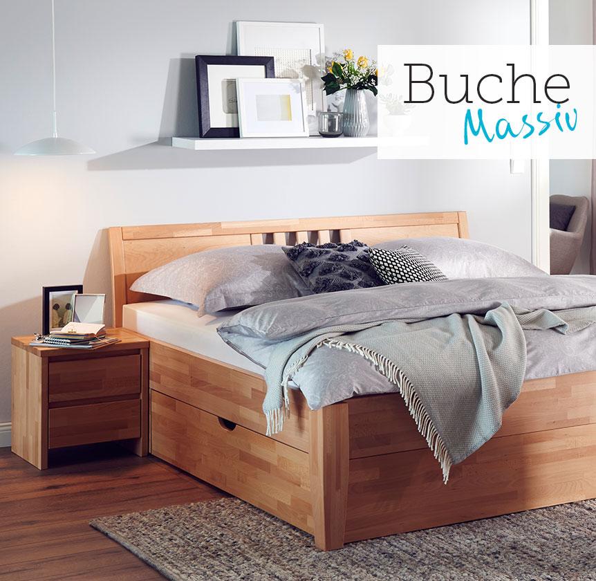Massivholz-Bettgestell Timber, Ziersprossen komplett, Buche
