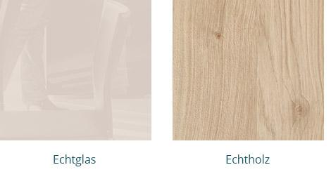 Echtholz und Echtglas